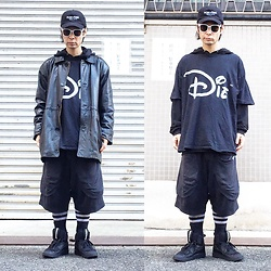@KiD - (K)Ollaps Post Punk, Nvr Mnd Die, Vintage Leather Jacket, P.A.M Short Pants, Puma Mcq - JapaneseTrash319