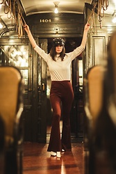 Sami Mauskopf - Express Puff Sleeve Top, Missguided Faux Suede Bell Bottoms, Brixton Fisherman's Hat - You vs. Time