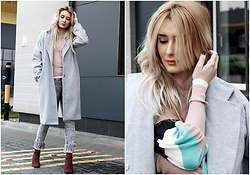 Sofija Surdilovic - Zaful Gray Woolen Coat, Rosegal Red Wine Ankle Boots - For the coat sake!