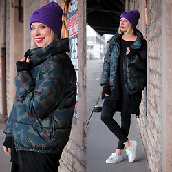Lavie Deboite - Jake*S Camouflage Jacket, H&M Sweater, Mango Black Dress, Sacha Shoes Sneaker, H&M Beanie - Camouflage & Purple