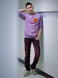 Chris Su - H&M Sweater, Tough Jeans, Adidas Sneakers - Purple