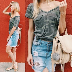 Zuzana - Z Supply Camo Tee, Ross Denim Skirt, Catherine Malandrino Gladiator Sandals, Botkier Backpack - Casual in Camo!