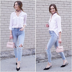 Marie's Bazaar - Le Chateau White Shirt, Dynamite Skinny Ripped Jeans, Zara Kitten Heels, Shein Pink Bag - Ready for spring
