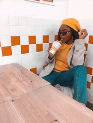 Abimbola Ogunsanya - Zaful Mustard Jumper, Primark Long Grey Coat, Ebay Beret - Chilling with the five guys