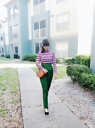 Nova Au - Zara Stripped Top With Scalloped Hems, H&M Green Paperbag High Waist Pants, Mango Black Pointed Toe Shoes - Sick day