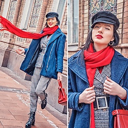Natasha Karpova - Shein Checked Jacket, H&M Navy Coat, Newchic Red Leather Bag, Stradivarius Checked Trousers, Vintage Statement Belt, Zara Rough Boots, Koton Red Turtleneck, Asos Baker Boy Cap - HELLO PRINCE!