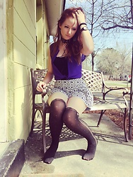 Adelaide B - Hot Topic Lolita Knee Highs, Adelaidexrawks High Waisted Flowy Shorts, Adelaidexrawks Purple Chiffon Blouse, H&M Lace Choker, Betsey Johnson Gun Metal Rhinestone Watch -   Purple