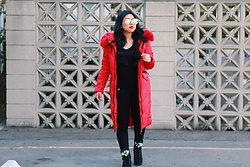 Lina Lemus - Shein Red Longline Puffer Jacket, Missguided Embellished Booties - Cold L.A Nights