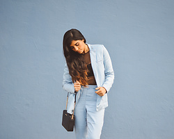Gabirul C - Armani Blue Suit, Oysho Mesh Leotard, Michael Kors Black Bag - Fill me with suits