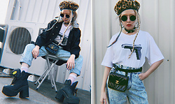 Vita Chen - Vii & Co. Gun T Shirts, Vii & Co. Acid Bf Jeans, Chanel Vintage Fanny Pack, Buffalo Platforms, Vii & Co. Leather Belt Buckle Choker, Vii & Co. Metal Round Sunglasses - Bang Bang