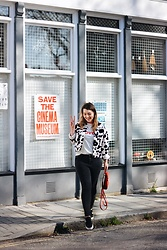 Daisy A - Asos Red Suede Backpack, Glamourous White And Red Lovers T Shirt, Asos Black And White Cow Print Piebald Jacket, Asos Black High Waisted Jeans, Nike Sb Stefan Janoski Trainers - Save the Cinema