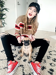 Sydney Hoffman - Urban Outfitters Striped Sweater, Topshop Black Ripped Jeans, Converse Red, Tobi Black Cadet Hat - Gary the Frenchie
