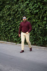 Pepe Vela - Aldo Shoes, Zara Chino Sllim, Levis Belt, Bershka Wine Shirt, Ray Ban Sunglasses - Mr.Casual