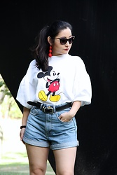 Kristen Tanabe - Zara Mickey Mouse Sweater, Zara High Waisted Denim Shorts, Vintage Black Belt, Miu Cat Eye Sunglasses, Baublebar Red Earrings - M-I-C-K-E-Y