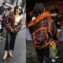 Dabing - Burberry Bag, Bcbg Pants, Zara Shoes, Gentalmonster Sunglass, Vintage Earring, Tmziezss Coat - Little cold day