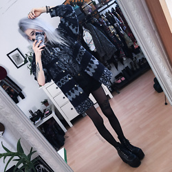 Kimi Peri - Vii & Co. Vegan Platform Boots, Tights, Arizona Vintage Patterned Flannel, Disturbia Shadow Shorts, Black Sanctuary Salem Tee, Choker - Salem