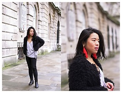 Thuy Pham - Next Faux Fur Coat, Missguided Strap Top, Next Red Tassel Statement Earrings, Brown Black Ankle Boots, Asos Jeans - Red tassels