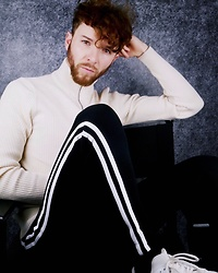 Luke Heywood - Asos High Neck Jumper, Asos Skinny Joggers - Comfy Style