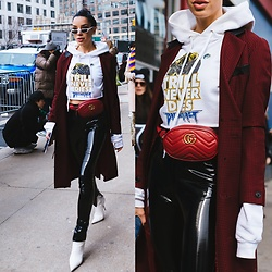 Claudia Salinas - Andy Wolf Sunnies, Balenciaga Hoodie, Gucci Belt Bag, Guy Laroche Vintage Coat, House Of Cb Patent Pants, Balenciaga Knife Boots - 3.3.18