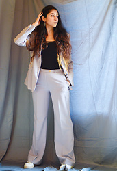 Jannat Khan - H&M Slip, New Look White Sneakers - Suit up