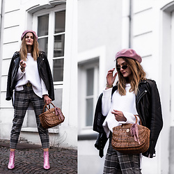 Catherine V. - Asos Hat, Maje Perfecto, Zara Knit, Hers Wave Straw Bag, H&M Tartan Pants, Sacha Pink Metallic Boots - TEENY TINY SUNGLASSES