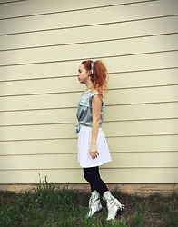 Emily Elizabeth - Thrifted Blue Sleeveless Shirt, Forever 21 White Schoolgirl Skirt, Current Mood Space Cowgirl Boots - Space Cowboy