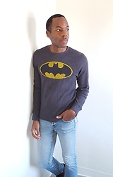 Thomas G - Old Navy Long Sleeved 'Batman' Print, Levi's® 547 Strauss & Co Light Denim, Wiki/Batman, Contributing Writer At Virily - Our greatest glory is not in ever falling,....