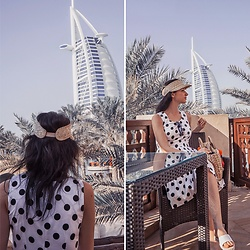 Natasha Karpova - Bestia Polka Dot Dress, Asos White Sandals, Marks & Spencer Straw Cap, Zaful Straw Bag - MY DUBAI