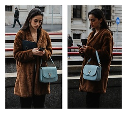 Roberta De Martino - Japanese Kimono, Pull & Bear Black Pants, Pull & Bear Coat, Bershka Earrings, Valentino Bag - My Milan Fashion Week