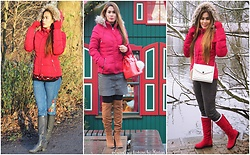 Kintan T - Orsay Red Jacket, Zara Skinny Jeans With Floral Embroidered, Deichmann Flat Boots, Koton Leather Look Skirt, Deichmann Over Knee Boots, Zara Cross Body Bag, Dresslink Winter Boots, Amiclubwear Hand Bag - HOW TO WEAR RED PADDED JACKET IN 3 DIFFERENT LOOK