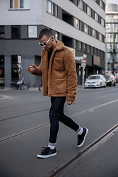 Kevin Elezaj - Common Projects Sneakers, Topman Jeans, Urban Outfitters Jacket, Acne Studios Glasses - Fluffy