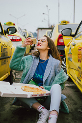 Andreea Birsan - Mint Faux Fur Coat, Check Printed Baby Blue Blazer, Baby Blue Skinny Trousers, Blue Cashmere Sweater, Green Saffiano Leather Shoulder Bag With Studs And Stones, Pizza, White Leather Stan Smith Adidas Sneakers - Pizza anyone?