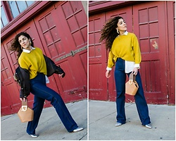 Christina N - H&M Oversized Sweater, Andrew Marc Puffer Coat, Danse Lente Johnny Mini Bucket Bag, High Waisted Skinny Jeans, Mignonne Gavigan Bird Earrings, Iro Paris Boots - Oversized Mustard Sweater with Puffer Coat