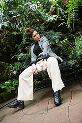 Christina N -  - Knit Pants with Blazer, Belt Bag and Combat Boots