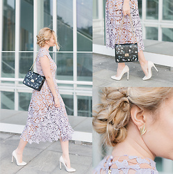 Cristina Siccardi - Missguided Lilac Lace Dress, Zara Cream Vernis Heels, Even & Odd Black Embroidered Bag - Lilac Bon-ton