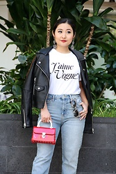 Kristen Tanabe - Rodarte X Vogue 125 J'aime Tee, Topshop Straight Jeans, Blanknyc Black Faux Leather Jacket, Forever 21 Petite Red Purse, Miu Rhinestone Embellished Cat Eye Sunglasses, M. Haskell Statment Earrings - J'aime Vogue