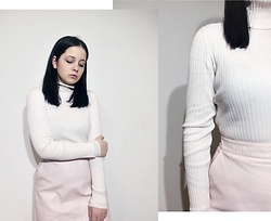 Natalia Pawlik - Second Hand Turtleneck, Second Hand Skirt - TOTAL PINK