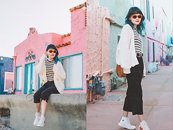 Nancy Qian - Topshop Rainbow Stripe Shirt, Urban Outfitters Slouchy Cardigan, Sunglassup Retro Sunglasses - All the summer pallete