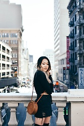 April C. - Pacsun Denim Skirt, Surrender The Label Bag, Brandy Melville Usa Wrap Top - City Vibes | Boba Guys