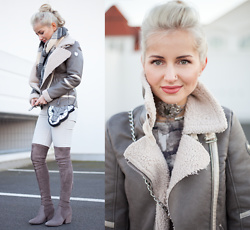 Julia Loewenherz - Maze Aviator Pilot Shearling Jacket, Regal Rose Maleficent Labradorite Choker, H&M Marble Stone Bodysuit, Marc Cain Leo Head Mini Bag, Mango Coated Light Grey Pants, Good Night Macaroon Grey Suede Leather Overknee Heel Boots - Warm Grey