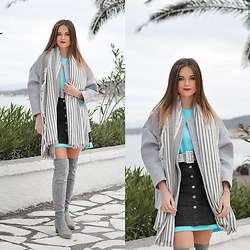 Tamara Bellis - H&M Sweater, H&M Jacket, H&M Skirt, H&M Scarf, H&M Over The Knee Boots - Back To Disco