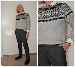 Reni E. -  - Monochrome with Norwegian sweater and pajama blouse