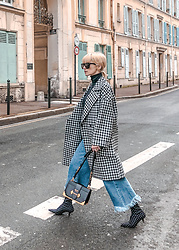 Eea Ikeda - Zara Denim Culottes, Zara Coat, Saint Laurent Sunglasses, Prada Bag, Zara Booties, Chanel Earrings - Denim Culottes
