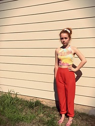 Emily Elizabeth - Forever 21 Tie Dye Crop Top, Thrifted Vintage Orange High Waisted Pants, Forever 21 Purple Jellies - Lady Bird