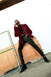 Dominic Grizzelle - Zerouv Red Sunnies, H&M Mock Neck Sweater, H&M Faux Leather Pants, Asos Lighting Boots, Preach Moto Biker Jacket - Smoke I got a free pack , flow sick get a Z pack