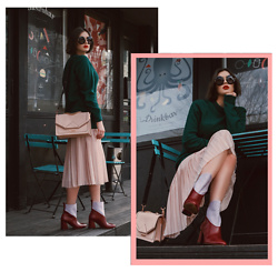 Wiktoria Celmer - Karl Lagerfeld K/Klassik Shoulder Bag, Pauline Twig Leather Boots, Karl Lagerfeld Midi Skirt, Dolce & Gabbana Round Sunglasses, Zara Oversized Sweater - HARD CANDY
