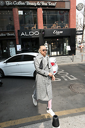 INWON LEE - Byther Check Coat, Byther Pink Rayon Slacks - Spring Has Come