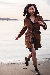Gabby Chia - Vintage Trench Coat, Topshop Wrap Dress, Qupid Chelsea Boots - Running From The Tide