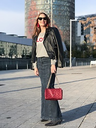 Colourvibes Blog - Suitblanco Biker Jacket, Mango Long Skirt, Scotch & Soda Hoodie, Zara Polka Dots Boots - Love hoodie!