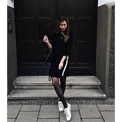 Nora K - Zara Sneaker, Nurdie Tights, Stradivarius Dress, Seidenfelt Bag - Black & White @inyourlittleworld